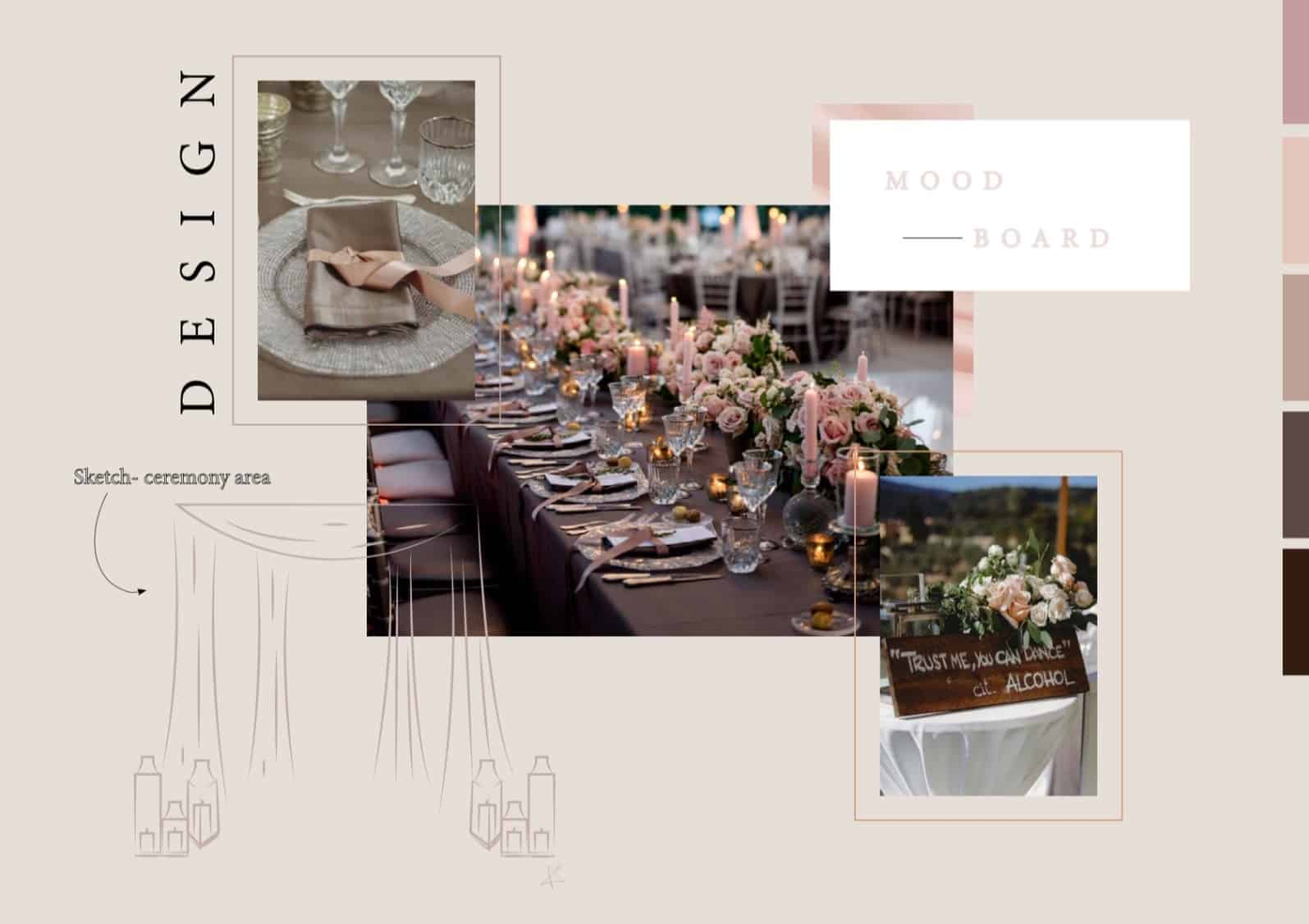 Moodboard of a wedding composed by photos of the table set up, with pink roses, candles, silver dishes