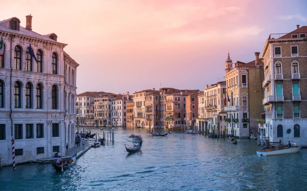 View of Venice at sunset Romantic Wedding in Italy