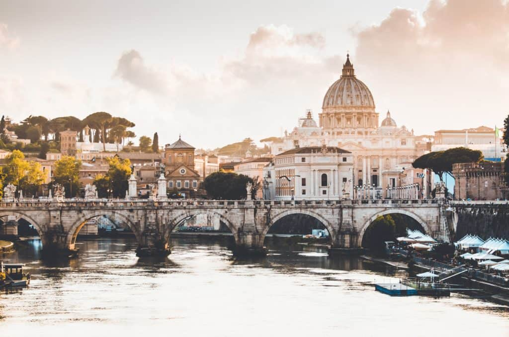 View of Rome at sunset Romantic wedding in Italy