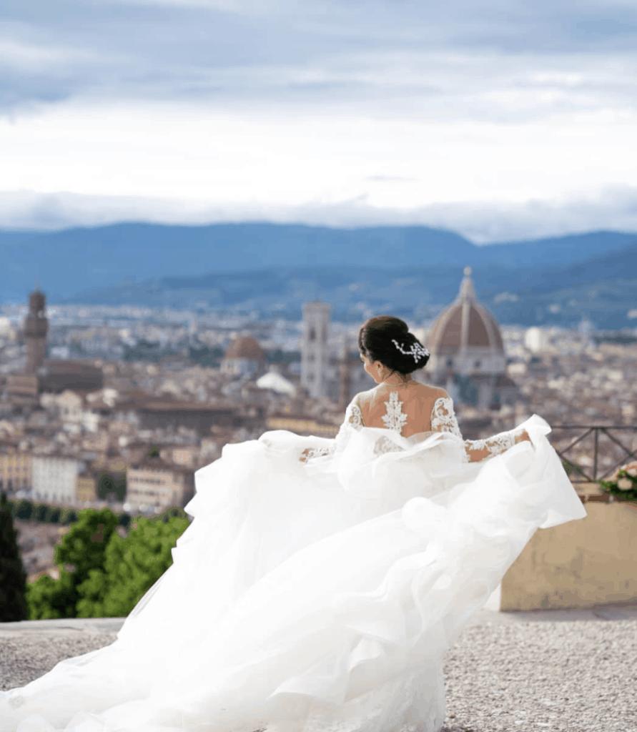 Bride on piazzale michelangelo, overlooking florence
