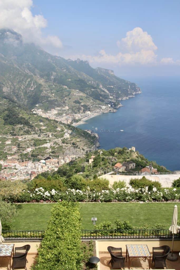 Italian villa view overlooking Amalfi Coast