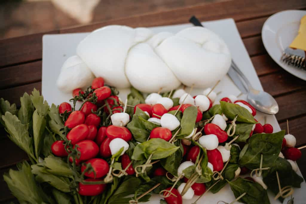 Mozzarella and tomatoes for wedding cocktail