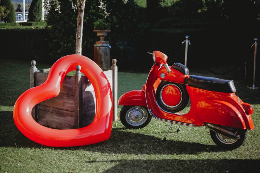 Red Vespa and Red Heart shape Balloon